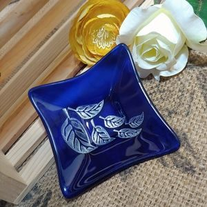 """4"""" Etched Recycled Glass Dish"""